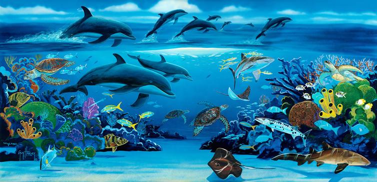 Tr s ashley bonjour et bienvenue for Dolphin paradise wall mural